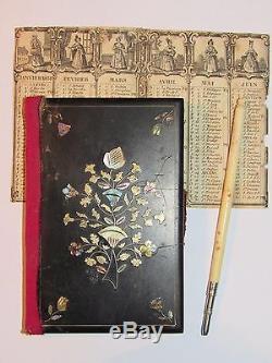 03D20 ANCIEN CARNET DE BAL INCRUSTATIONS NACRE ET ARGENT + CALENDRIER 1838 XIXe