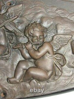 04F5 ANCIENNE SCULPTURE BAS RELIEF ÉBONITE ANGELOTS MUSIQUE NAPOLÉON III XIX e