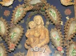 06F46 ANCIEN CADRE EX VOTO DIORAMA RELIGIEUX NAPOLÉON III VIERGE A ENFANT XIXe