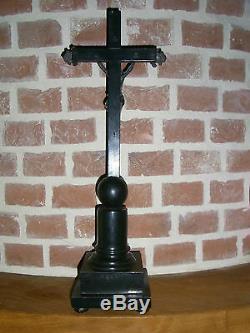 09B12 ANCIEN CHRIST CRUCIFIX D' AUTEL ÉBÈNE ARGENT MASSIF XIX e NAPOLÉON III