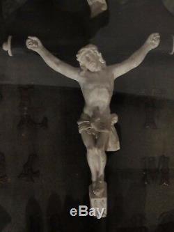10D9 ANCIEN CADRE OVALE NOIR VERRE BOMBE NAPOLÉON III COURONNE DE MARIÉE XIXe