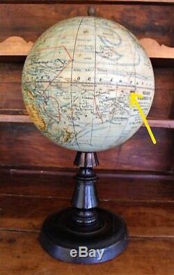 2k Globe terrestre mappemonde XIXe Napoléon III signé Forest
