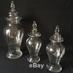 3 grands Pots Couverts à Pharmacie en Verre Ancien XIXe, H. 55 cm et H. 38 cm