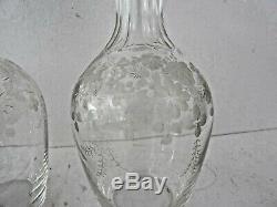 4 Carafes en cristal cave à liqueur XIX Napoleon III Baccarat Saint Louis