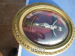 ANCIEN CADRE OVALE VERRE BOMBE NAPOLÉON III CHRIST CRUCIFIX XIXe metal argent