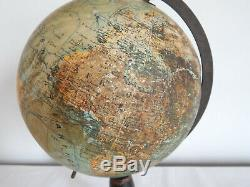 ANCIEN Globe Terrestre Mappemonde J FOREST éditeur fin XIXe Napoléon III