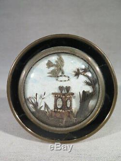 ANCIEN MEDAILLON MINIATURE CADRE CHEVEUX SOUVENIR COEUR COLOMBE EPOQUE XIX ème