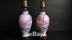 ANCIENNE PAIRE de LAMPES BALUSTRES EN PORCELAINE XIXe CHINE