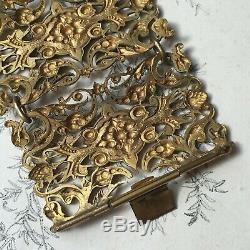 Ancien Bracelet Manchette Articulé Napoléon III Métal Doré XIXè Victorian Bangle