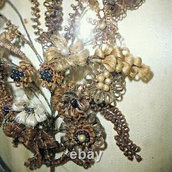 Ancien Cadre bombé reliquaire cheveu en bouquet Napoleon 3 XIXe 35x29 cm