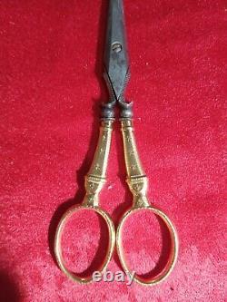 Ancien Ciseaux nécessaire Couture Or 18k, XIXe