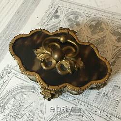 Ancien Coffret à Bijoux Laiton et Ecaille XIXé Napoleon III Victorian box set