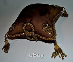Ancien Coussin De Mariage XIX Napoleon III Porte Epingle Chapeau Globe Galon Or