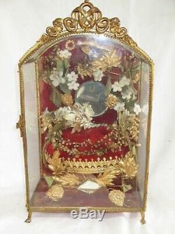 Ancien Globe De Mariee Napoleon III En Verre Armoire Coffret A Bijoux XIX