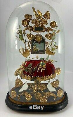 Ancien Globe De Mariee Napoleon III Verre Ovale Socle Bois Noirci XIX Eme H1192