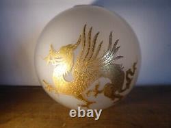 Ancien Globe Dragons Lampe A Petrole Huile XIX Siecle