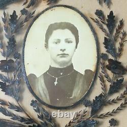 Ancien Grand Cadre Reliquaire Souvenir Deuil Cheveux Napoléon III XIXè Mourning