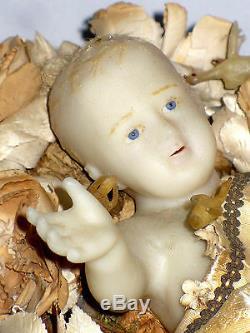 Ancien Grand Jésus De Cire Santon XIXe Crèche Napoleon III travail de Nonne bébé