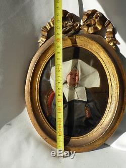 Ancien Portrait De Nonne Napoléon III Peinture Fixé Sous Verre Xixe Cornette