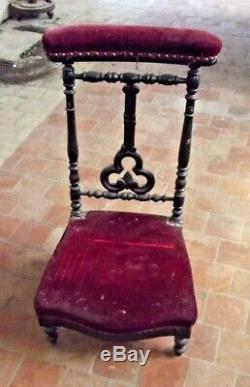 Ancien Prie Dieu Bois Tapisserie à restaurer Coeur Ecclésiastique Croix XIX