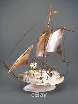 Ancien Souvenir Bord de Mer Bateau Navire Voilier Baguier Nacre Laiton, fin XIX