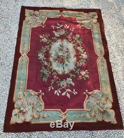 Ancien Tapis Daubusson XIX Eme /tapisserie / Decor Floral Napoléon III