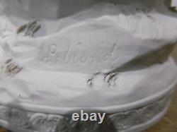 Ancien biscuit signé Leblond + marque bleu décors anges XIX siècle