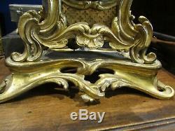 Ancien cartel bronze doré XIXe napoleon III style louis XV pendule rocaille