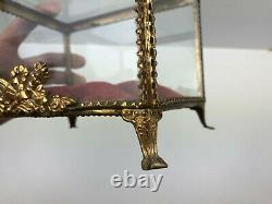 Ancien coffret XIXe Vitrine Napoléon III Globe Mariée coussin velours