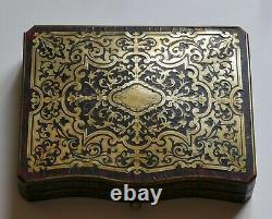 Ancien coffret boite marqueterie Boulle Napoleon III marqueté toutes faces XIXe