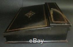 Ancien écritoire Napoléon III XIX ème, marqueterie de laiton WRITING SLOPE