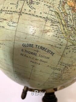 Ancien globe terrestre fin XIXè G. THOMAS Paris mappemonde cabinet de curiosité