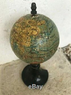 Ancien globe terrestre mappemonde J FOREST éditeur fin XIXe Napoléon III H 17CM