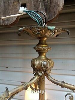 Ancien lustre 3 feux en bronze XIXe S. De style Napoléon III en état de marche