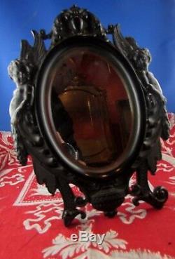 Ancien miroir de table glace en bois noirci angelots epoq napoleon III fin XIXe