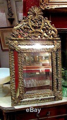 Ancien miroir glace XIXE en laiton repoussé napoleon III style louis XIV fronton