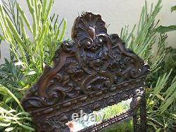 Ancien miroir parclose Napoléon III parecloses bois et laiton décor fleurs XIXE
