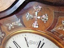 Ancien oeil de boeuf Napoléon III incrustation nacre-horloge-pendule murale-XIXè