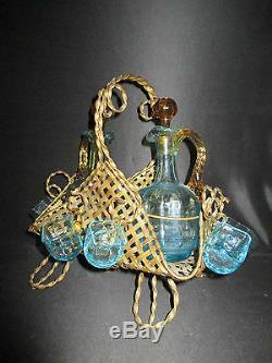 Ancien panier en bronze doré service à liqueur George Sand Portieux XIX ème