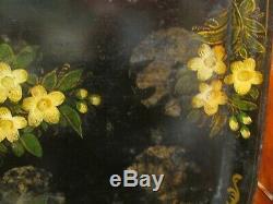 Ancien tres grand plateau en tole peinte XIXe fleurs napoleon III