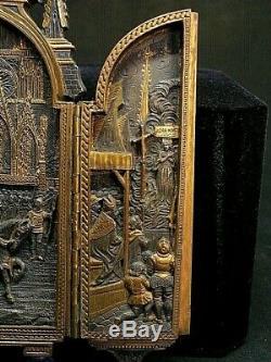Ancien triptyque bronze doré I. BLOCH fleurs de lys St Louis Jeanne d'Arc XIXe