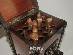 Ancienne Grande cave Boite à cigare Tabac Napoleon III XIX ème cabochons nacre