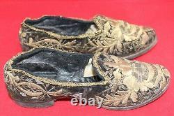 Ancienne Paire De Chaussures Fil D'or XIX Eme L'huillier Napoleon 3 Empire