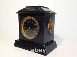 Ancienne Pendule Borne en Marbre noir Napoléon III XIXe horloge elle fonctionne