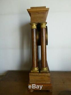 Ancienne Pendule Portique Bronze Dore Bois Palissandre XIX Siecle