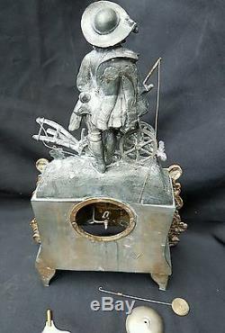 Ancienne Pendule Xixe Bronze Dore Le Petit Laboureur Napoléon III