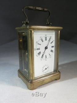 Ancienne Pendulette Reveil De Voyage En Laiton Et Verre Biseaute Epoque Fin XIX