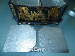 Ancienne boîte à thé Napoléon III coffret à décor japonisant carton bouilli XIX