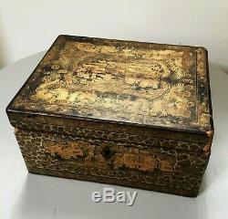 Ancienne boite a thé laque de Chine XIXe Napoléon III