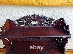 Ancienne étagère sculptée en bois dentelé-XIX ème-art populaire-carved wood